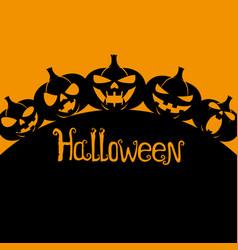 Silhouettes of halloween pumpkins vector