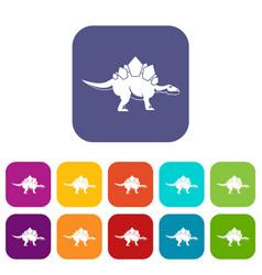 stegosaurus dinosaur icons set flat vector image vector image