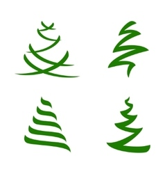 Stylized Christmas Trees Set vector image