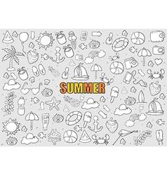 Summer beach hand drawn symbols vector image vector image