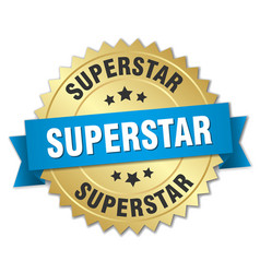 Superstar 3d gold badge with blue ribbon vector