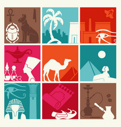 the background of the traditional symbols of egypt vector image