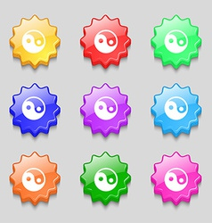 Ying yang icon sign symbol on nine wavy colourful vector