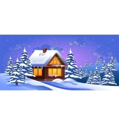 A winter landscape with vector