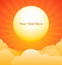 Evening sky background with sun text space vector