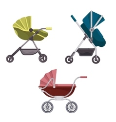 Baby carriage or buggy folding stroller icons vector