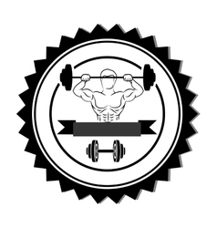Silhouette stamp border with muscle man lifting a vector