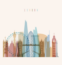 london skyline detailed silhouette vector image