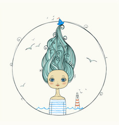 Beautiful girl with flying hair on marine vector