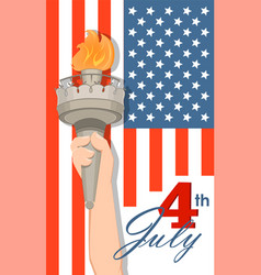 Statue of liberty hand with torch and flag on vector