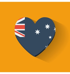 Heart-shaped icon with flag of australia vector