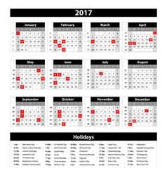 2017 Calendar Planner Design vector image