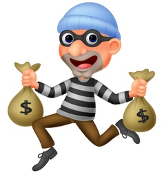 Thief carrying bag of money with a dollar sign vector