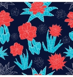 Night desert cacti flowers seamless pattern vector