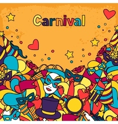 Carnival show background with doodle icons and vector