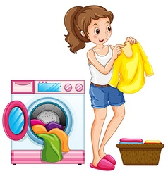 Woman washing clothes in the house vector