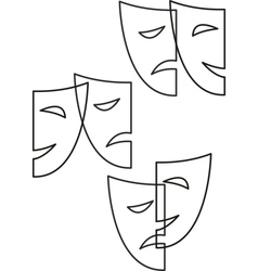 Contour theatrical masks tragedy and comedy vector
