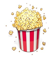 Popcorn in striped basket vector