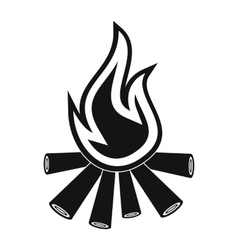 Burning bonfire black simple icon vector