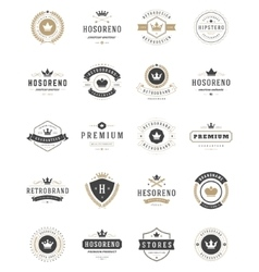 Vintage crowns logos set design elements vector