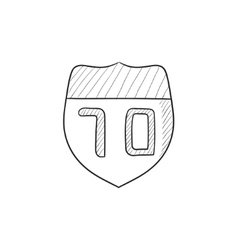 Route road sign sketch icon vector