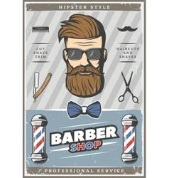 Barber hipster vintage poster vector