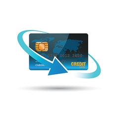 blue credit card vector image vector image