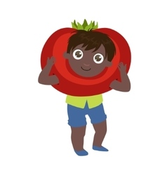 Boy dressed as tomato vector