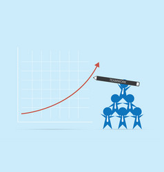businessmen holding pen to write red arrow up vector image vector image