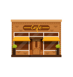 cafe facade restaurant building with showcase vector image