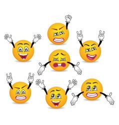 Cartoon cute emoticons with hands gesture set vector
