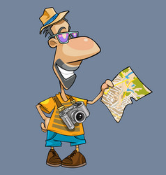 cartoon of a smiling tourist with a camera vector image
