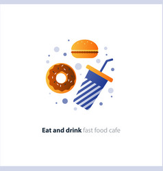 Chocolate donut and blue tumbler glass with straw vector