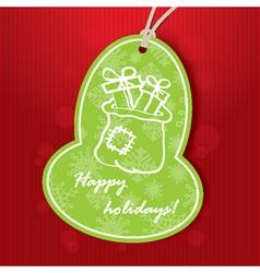 Christmas greeting with santa bag vector
