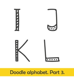Cute hand drawn alphabet doodle letters i-l vector