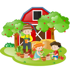 farm scene with children and farmer planting trees vector image