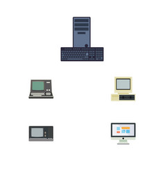 Flat icon computer set of technology display vector