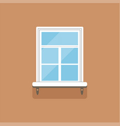 Flat window with decorative facade cornice on vector