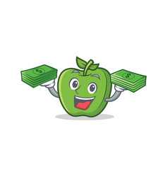 Green apple character cartoon with money vector