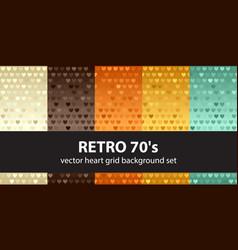 heart pattern set retro 70s seamless vector image vector image