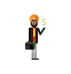 Indian man with suitcase and dollar sign in hands vector
