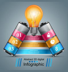 Infographic design bulb battery icon vector