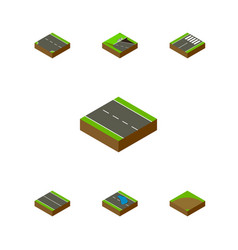 Isometric road set of downward single-lane vector