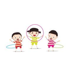Kids playinghula hoop vector