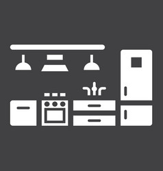 Kitchen furniture solid icon and interior vector