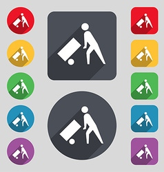 Loader icon sign A set of 12 colored buttons and a vector image