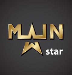 main golden star inscription icon vector image vector image