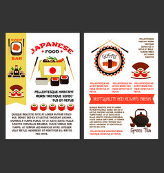 menu poster for japanese sushi food vector image