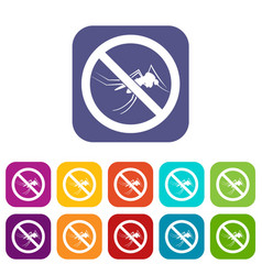 No mosquito sign icons set vector