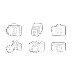photo camera icon set outline style vector image